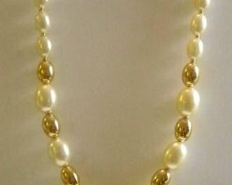 Napier Cream Color Gold Beaded Necklace