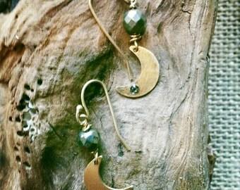 Moon & Pyrite Dangle Earrings