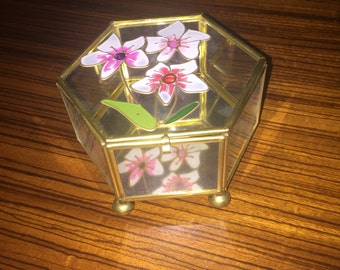Vintage brass and stained glass jewelry/trinket box