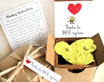 12 Plantable Bee Birthday Party Favors - Kids Bee Day Thanks for Bee-ing Here Cards - Bee Friendly Flower Seeds Planting Kits