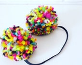 Pom Pom headband or clips, colorful headband, baby headband, baby hair clips, birthday, hair clips, toddler, kids hair accessory