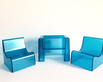 mid century mod dollhouse furniture clear ice blue chairs 1960s mod arm side chairs for dollhouse designer lucite doll furniture decor vintage modern dollhouse furniture 1200 etsy