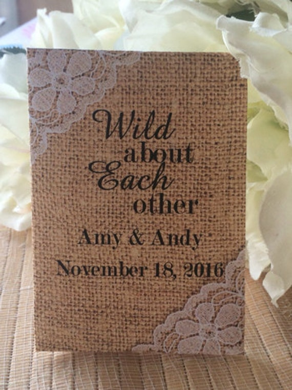 50 Wedding Favors, Shabby Chic Wedding, Burlap and Lace Wedding, Wedding Seed Packets, Burlap wedding favors