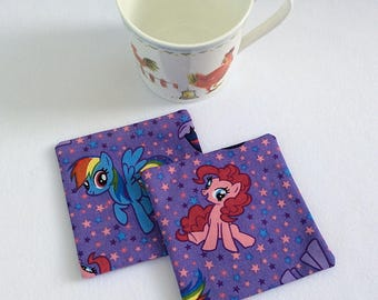 Fabric coasters mug rugs / cotton coasters / cotton mug rugs / pony coasters / animal coasters / childrens coasters / table mats