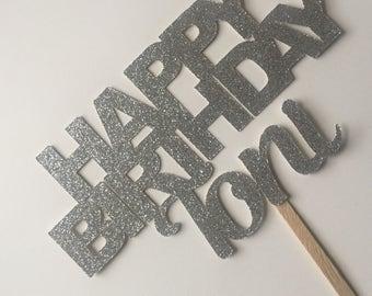 Personalized Happy Birthday Cake Topper // Custom Cake Topper // Happy Birthday Cake Topper