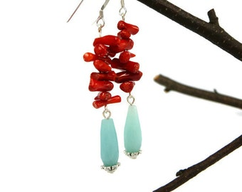 Coral/Amazonite Sterling silver Country Western earrings/Natural Amazonite and coral/Sterling Silver dangle tear drop earrings/Natural coral