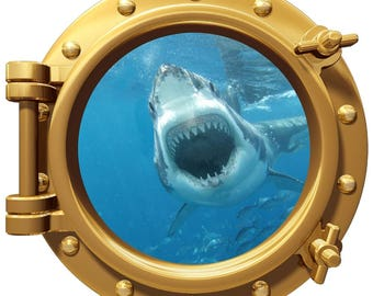 """Porthole Wall  Color Decal Great White Shark Bite 12"""" Removable Reusable"""