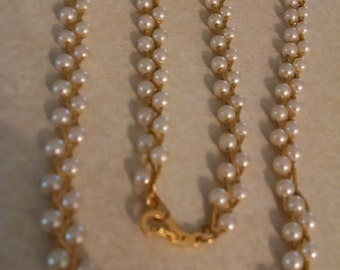 Double Faux Pearl Chain Necklace, Gifts Under 30.00, Gifts for Her, Vintage Necklace, Accessories, Vintage Beaded Necklace, Vintage Jewelry