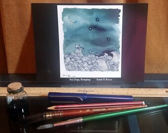 A5 Art Postcard - Sea Dogs, Romping