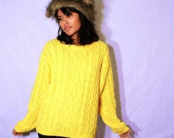 Sunshine Yellow Knit Vintage Sweater Small Medium FREE SHIPPING
