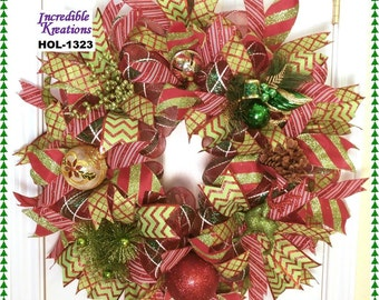 Christmas Wreath;  Christmas Mesh Wreath;  Christmas Wreath for Front Door or Wall
