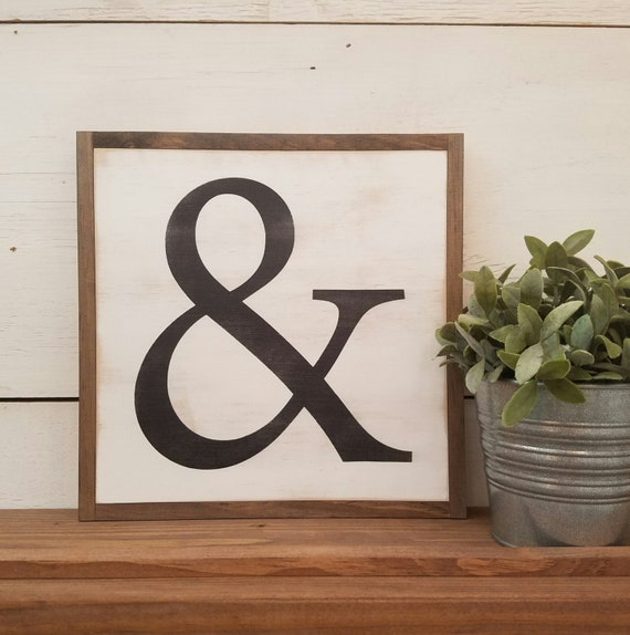 AMPERSAND 1'x1' | painted distressed wooden wall decor | farmhouse style | shabby chic | accent piece