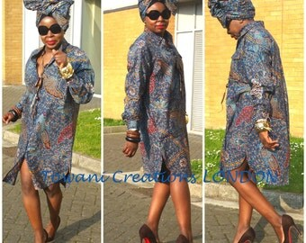 Towani Ankara African Print Oversized Tunic Shirt Dress Size 12,14,16,18UK/8,10,12,14USA/40,42,44,44EU Ready To Ship
