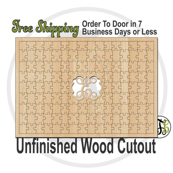 142 Piece Puzzle Monogram Guest Book Alternative - No.300156- Wooden Cutout, unfinished, wood, laser cut wood cut out, Wedding, wooden sign
