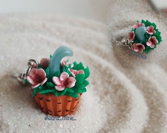 Wave and flowers  cupcake charm