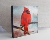 Red Cardinal Print 6x6 on Wood Block Ready-to-Hang Bird Art from Original Acrylic Painting