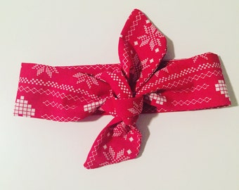 Headband to tie handmade red and White Christmas special