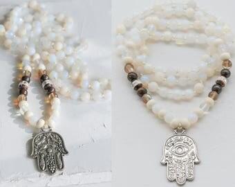 BAHIJA MALA long HAMSA necklace / Jade Bone Opalite Mala / Hamsa Amulet Mala / Iridescent Opalite mala beads / N O M A D I C boho bohemian