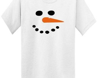 festive carrot nose Snowman Face T-shirt