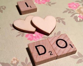 Wedding Card I Do Scrabble Tiles Handmade Green Floral Background