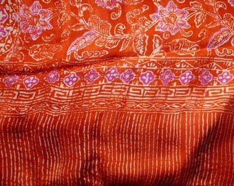 Large orange, pink and white ref. silk scarf L36