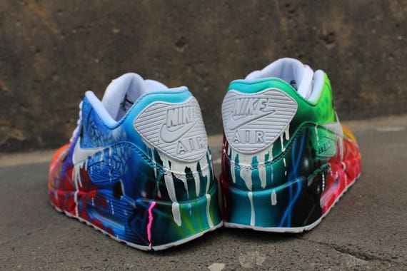 dfbd2014a4 ... shoes men graffiti uk custom airbrush nike air max 90 white drip galaxy  style 4ccd1 2fd97 ...
