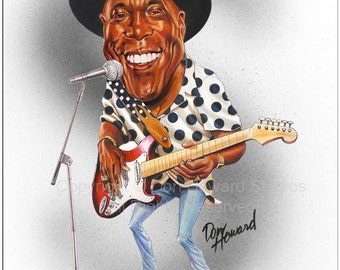 Don Howard's Depiction of Buddy Guy Limited Edition Celebrity Caricature