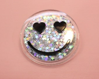 Heart eyes Star glitter Smile Brooch Pin and Patch