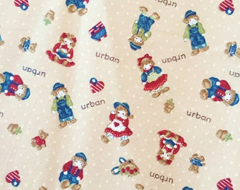 doll, little girl, america, letter red brown/carmine background, sweet color 100% Cotton Fabric by yard, fat quarter, half yard, yard