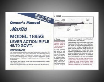 Marlin 1895G Lever Action Original Owner's Manual 1990s