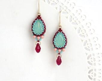 Turquoise dangle earring, Turquoise teardrop earrings, Gold turquoise earrings, drop earrings gold, Crystal teardrop earrings, Gift for wife