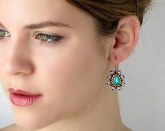 Teardrop earrings, Colorful earrings, Drop crystal earrings, Crystal dangle earrings, Crystal drop earrings, Turquoise and coral earrings