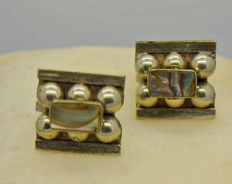 Vintage Silver and Abalone Earrings