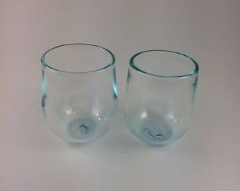 Pair of Two Brilliant Blue Wine Glasses