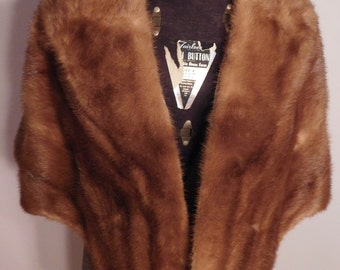 Vintage Mink Stole Capelet with Pockets Medium Brown by Flahs