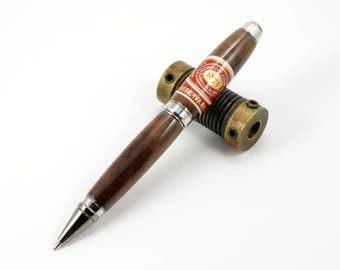 Cigar Label Pen in Walnut with Chrome Fittings - Romeo y Julieta 1875 Cigar Label