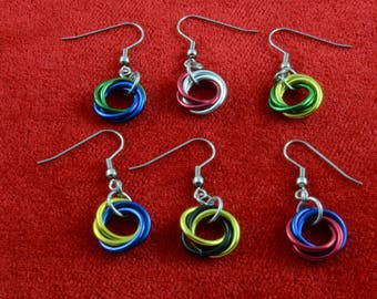 Mobius Coil Chainmail Earrings