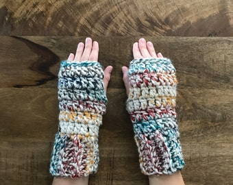 Fingerless gloves, crochet fingerless mittens, chunky fingerless mitts, texting gloves, thick warm fingerless gloves, Womens fingerless