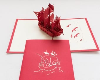 Ship, 3-D Pop-Up Card, Hand-crafted, Chinese paper-cut, Renewal Cards