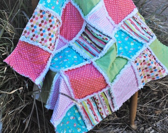 Rag Quilt, Baby Girl, 36 x 36, Aqua, Pink, Green, White