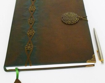 Leather Journal A4, Guest Book, Writing Journal, Diary, Tree of life, Graduation, Anniversary, Birthday Gift, Family Memories, Leather Art