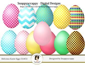 Easter Clipart, Digital Scrapbooking, Decorated Easter Eggs Clipart CU4CU