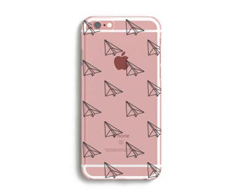 Paper Plane Origami Phone Case, iPhone 7, 6s, Plus, SE, 5s, 5c, abstract design transparent phone case, Clear