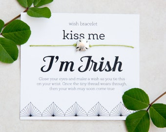 Kiss Me I'm Irish Wish Bracelet, St Patricks Day, Irish Luck, four leaf clover, Silver Clover Bracelet, Clover String Bracelet, Irish Fun