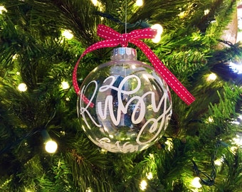 Personalized Custom Handlettered Christmas Ornament