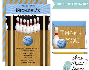 Bowling alley etsy boys bowling birthday invitations printable do it yourself editable template blue bowling solutioingenieria Images