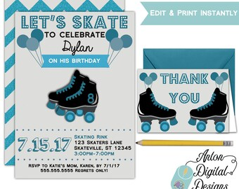 Printable Boys Roller Skating Party Invitations - Children's Birthday Party - Edit with Adobe - Instant Download - Free Thank You Card
