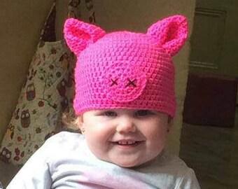 Pig hat, piglet beanie pink.