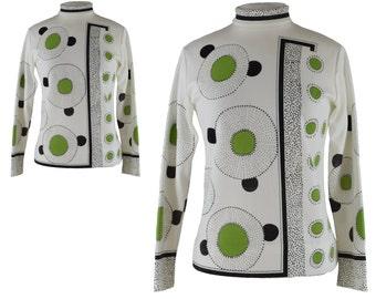 Vintage Shirt, 1960s Shirt, 60s Shirt, Green White Mod Shirt, Flower Power, Geometric, Mod Sweater, Twiggy, Mock Turtleneck, Size Medium