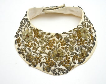 Vintage Neckline Collar, Baar & Beards Bib Collar, White Satin with Coiled Metallic Thread Embroidery, Made in India, c 1950s